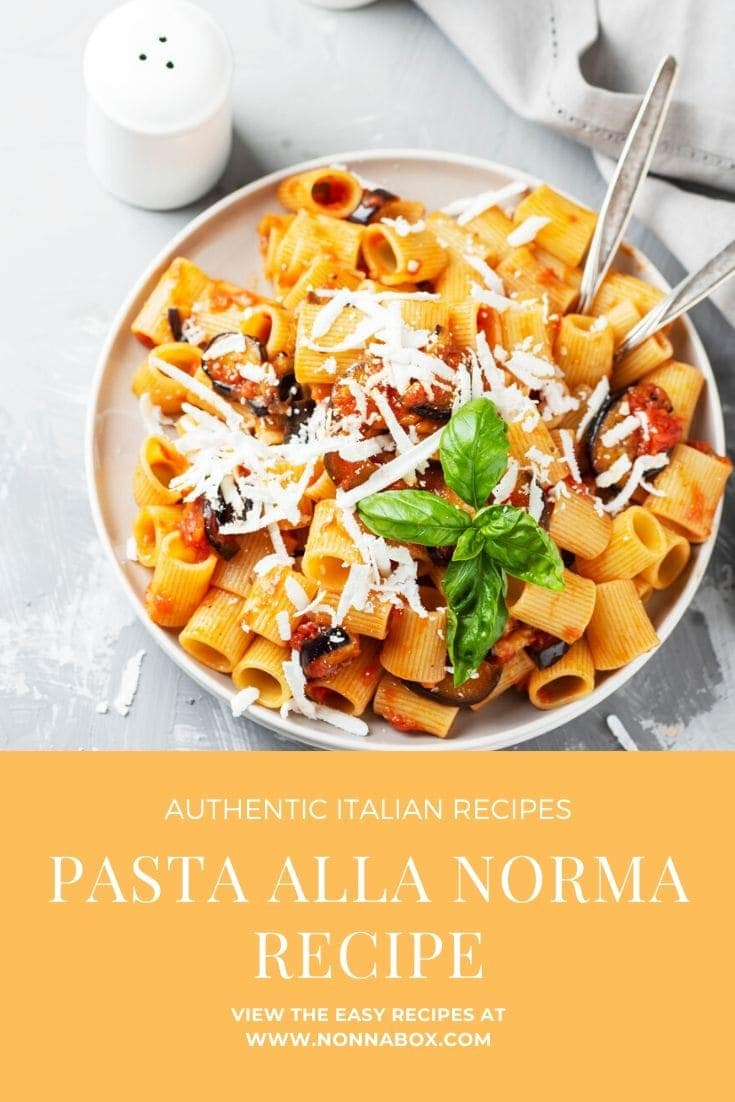 This recipe combines the flavors of #Sicily: eggplant, tomato and ricotta salata. It\'s a delicious summery dish, which can be enjoyed paired with a Southern Italian white wine. Enjoy! #pasta #recipes #eggplant #pastarecipe