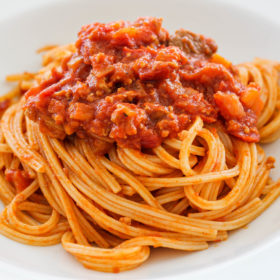spaghetti alla chitarra with pork and lamb meat sauce recipe