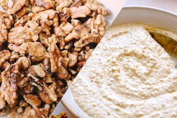 walnut sauce and raw walnut