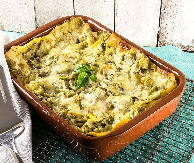 Artichoke lasagna recipe on a table