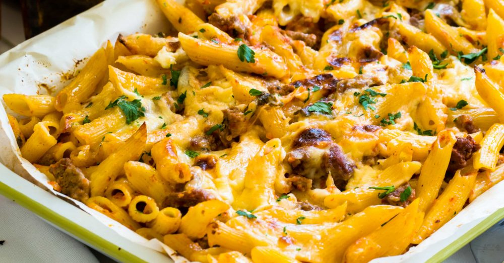 Baked Penne Pasta Recipe With Bechamel and Meat Sauce