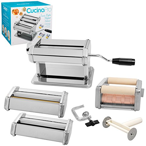 CucinaPro Pasta Machine Maker Deluxe Set with Attachments