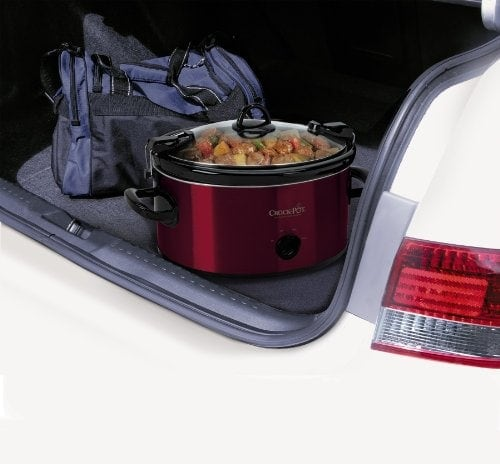Crock-Pot Cook' N Carry 6-Quart Oval Manual Portable Slow Cooker, Red