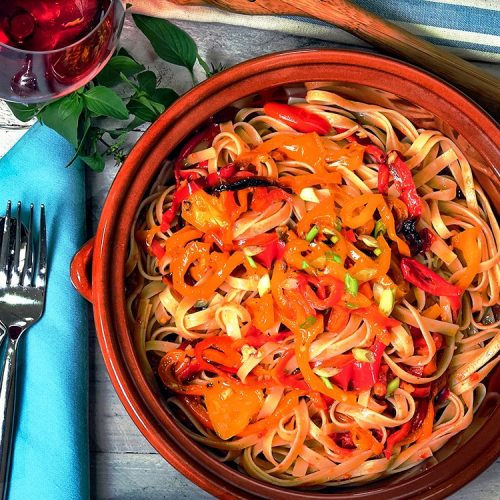 Fettucine Recipe with Bell peppers and cherry tomatoes