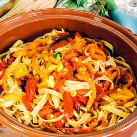 Fettuccine recipe with Roasted Bell Peppers and Cherry Tomatoes