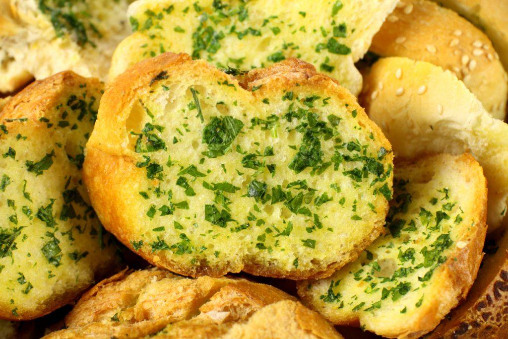Delicious homemade garlic bread ready to serve.