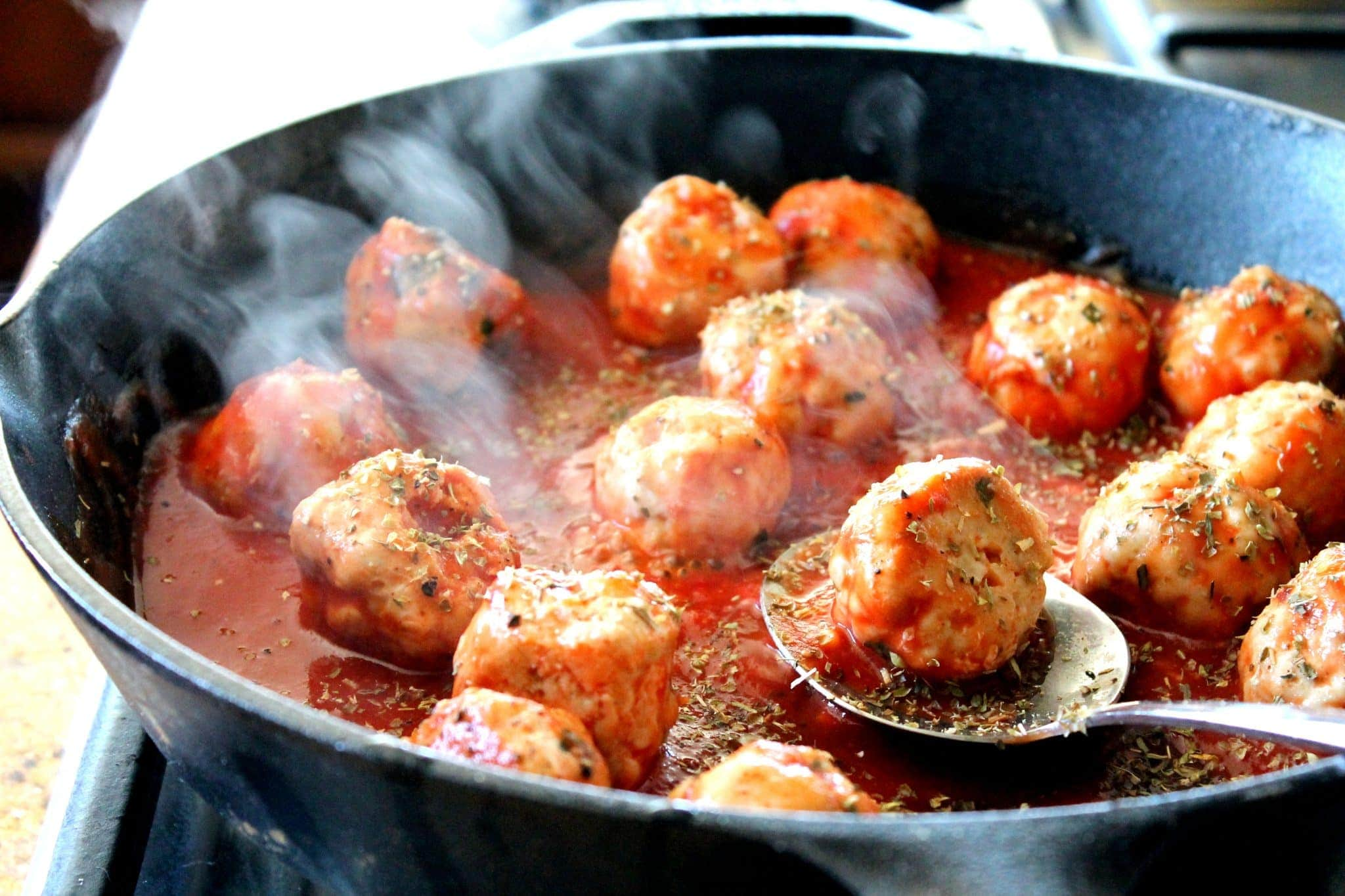 Italian meatballs and sauce are a delicious dish.