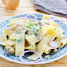 pappardelle pasta recipe with mushrooms and leeks