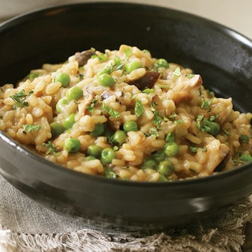 Risotto with mushrooms and peas recipe
