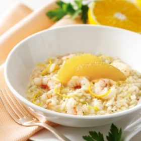 Risotto with orange shrimp is a great dish.