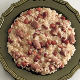 Risotto with Italian sausage is an interesting meal.