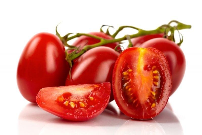 Fresh roma tomatoes cut