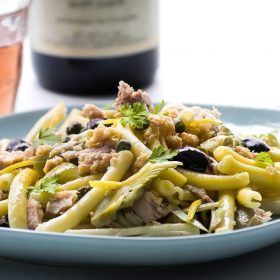 Spaccatelle pasta with Tuna Olives Artichokes Capers