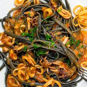Squid Ink Pasta Recipe with Seafood in San Marzano Tomato Sauce