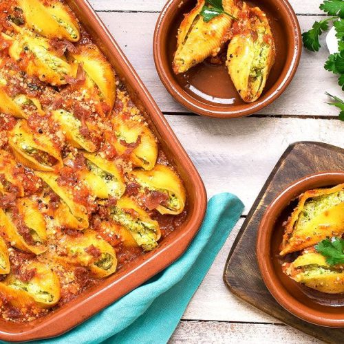 Stuffed Shells with Ricotta Peas and Prosciutto