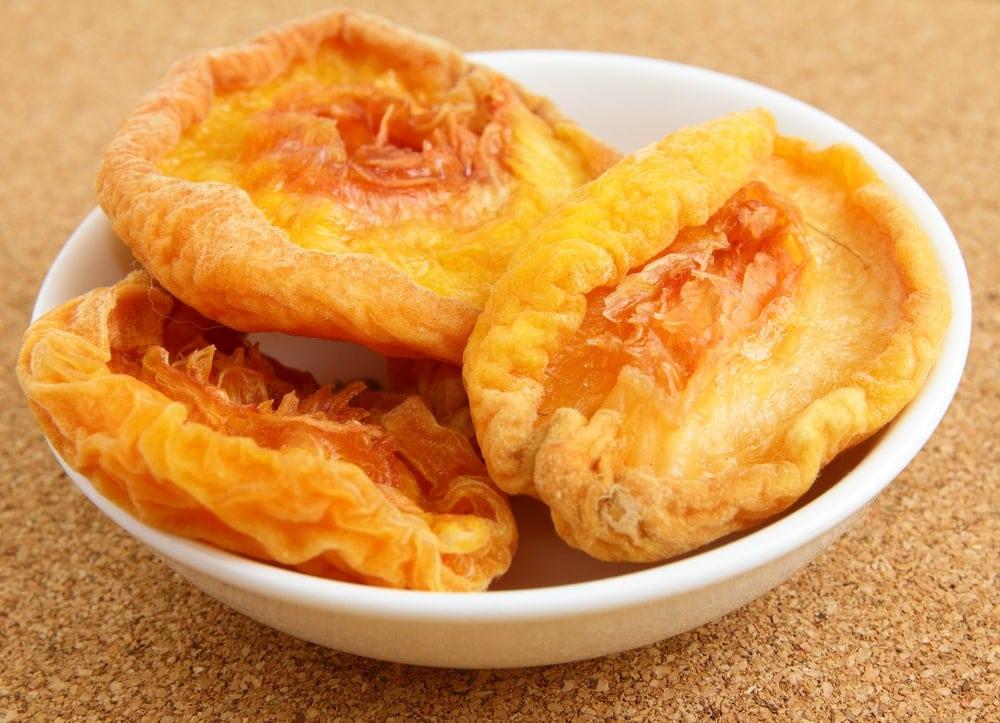 Dried peaches in bowl