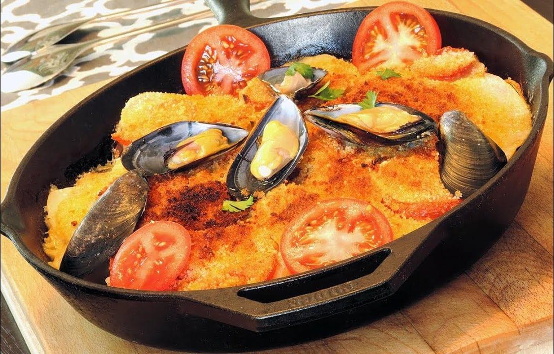 Tiella Puglese Rice Potato Mussels casserole
