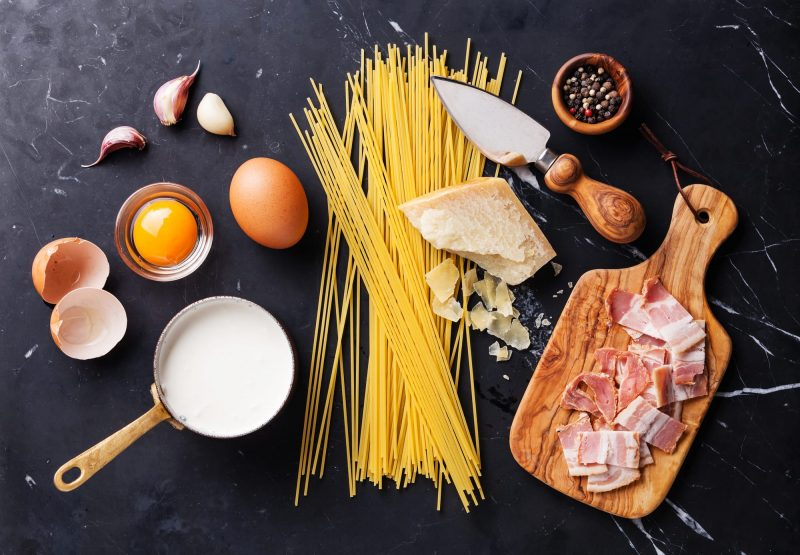 Ingredients for pasta carbonara