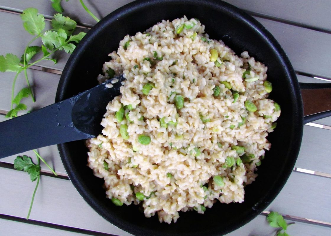 Risotto with edamame