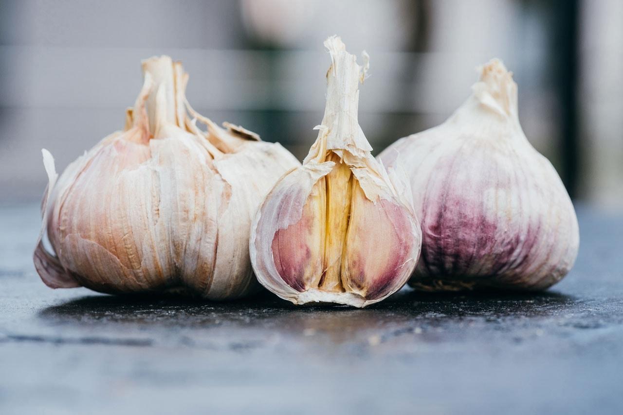 Garlic cloves on a table