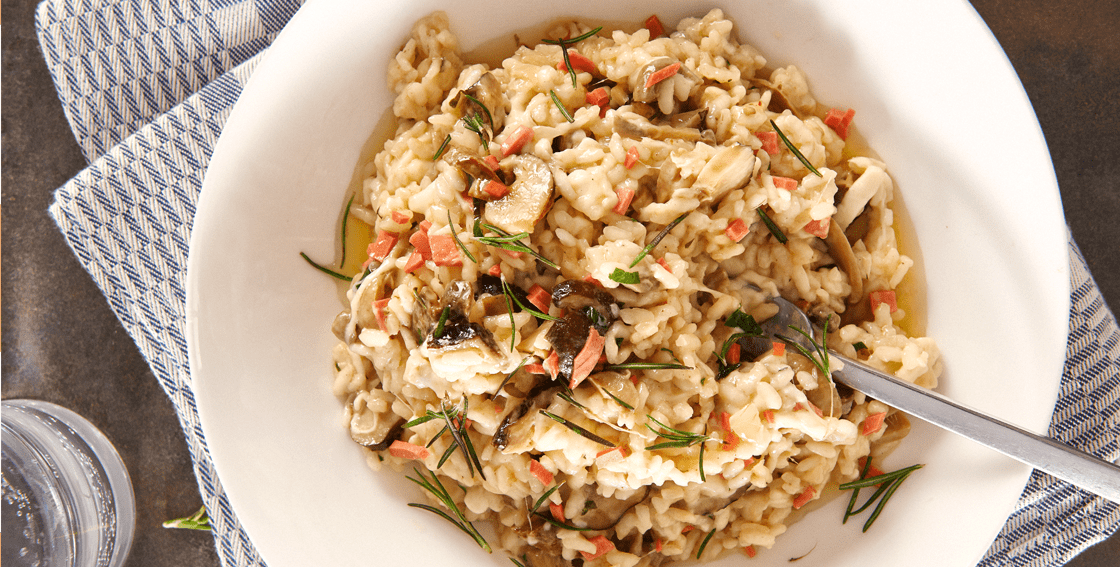 risotto with ham and mushrooms recipe