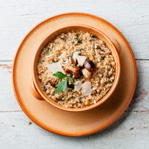 Risotto with dried mushrooms recipe