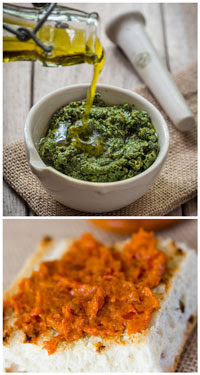 pesto and bruschetta spread